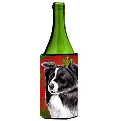 Border Collie Snowflakes Holiday Christmas Wine Bottle Hugger