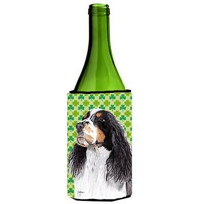 Springer Spaniel St. Patricks Day Shamrock Portrait Wine bottle sleeve Hugger...