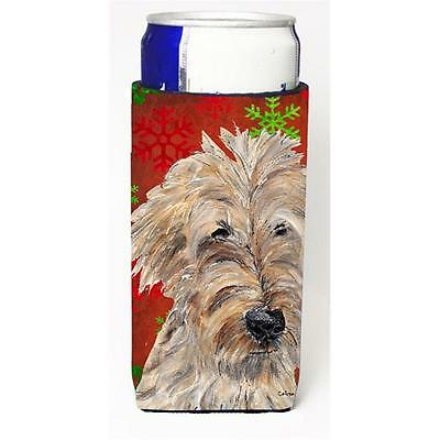 Goldendoodle Red Snowflake Christmas Michelob Ultra bottle sleeves for slim c...