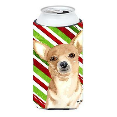 Candy Stripe Chihuahua Christmas Tall Boy bottle sleeve Hugger 22 to 24 oz.