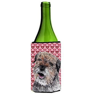 Border Terrier Valentines Love Wine bottle sleeve Hugger 24 oz.