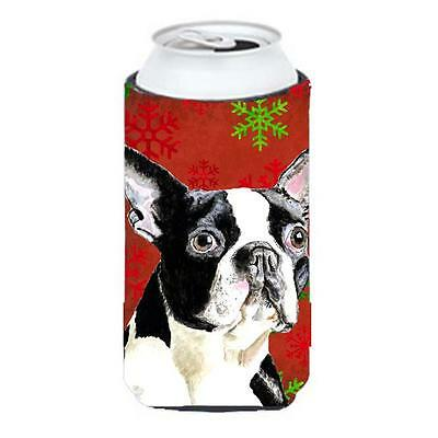 Boston Terrier Red Green Snowflakes Christmas Tall Boy bottle sleeve Hugger