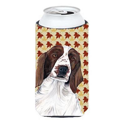 Welsh Springer Spaniel Fall Leaves Portrait Tall Boy Hugger 22 To 24 oz.