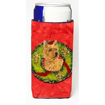 Norwich Terrier Christmas Wreath Michelob Ultra bottle sleeves For Slim Cans ...