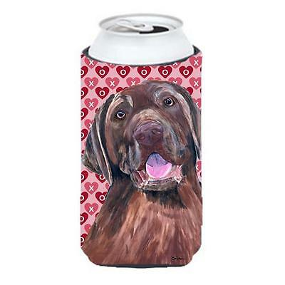 Labrador Chocolate Hearts Love Valentines Day Tall Boy bottle sleeve Hugger
