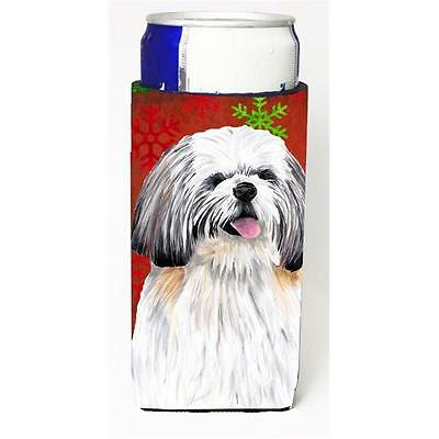 Shih Tzu Red and Green Snowflakes Holiday Christmas Michelob Ultra s for slim...
