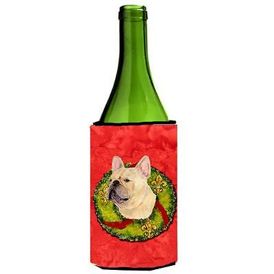 French Bulldog Christmas Wreath Wine bottle sleeve Hugger 24 oz.
