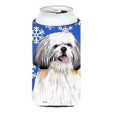 Shih Tzu Winter Snowflakes Holiday Tall Boy bottle sleeve Hugger