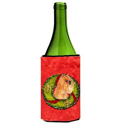 Brussels Griffon Christmas Wreath Wine bottle sleeve Hugger 24 oz.
