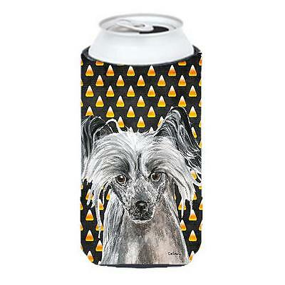 Chinese Crested Halloween Candy Corn Tall Boy bottle sleeve Hugger