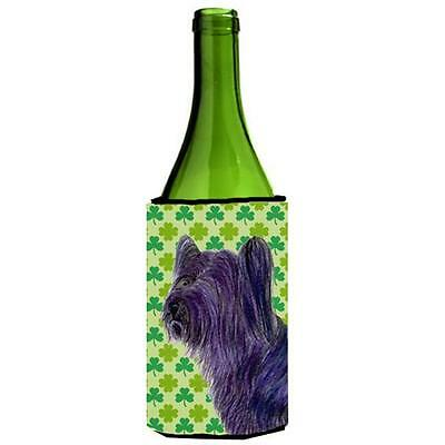 Skye Terrier St. Patricks Day Shamrock Portrait Wine bottle sleeve Hugger 24 oz.