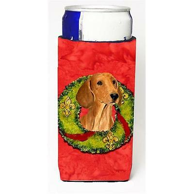 Dachshund Christmas Wreath Michelob Ultra bottle sleeves For Slim Cans 12 oz.