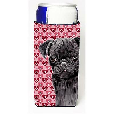 Pug Black Hearts Love and Valentines Day Portrait Michelob Ultra bottle sleev...