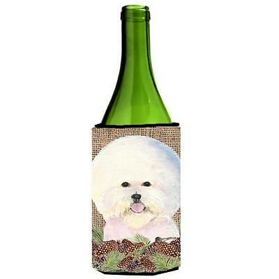 Bichon Frise On Faux Burlap With Pine Cones Wine bottle sleeve Hugger 24 oz.