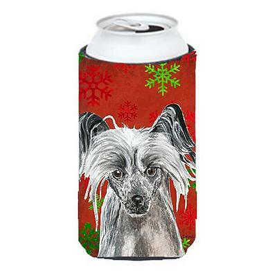 Chinese Crested Red Snowflake Christmas Tall Boy bottle sleeve Hugger 22 To 2...