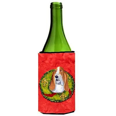 Carolines Treasures Basset Hound Cristmas Wreath Wine bottle sleeve Hugger