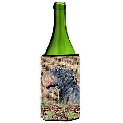 Irish Wolfhound on Faux Burlap with Pine Cones Wine bottle sleeve Hugger 24 oz. • AUD 48.26