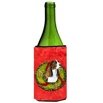Carolines Treasures Springer Spaniel Cristmas Wreath Wine bottle sleeve Hugger