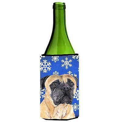 Carolines Treasures Mastiff Winter Snowflakes Holiday Wine bottle sleeve Hugger