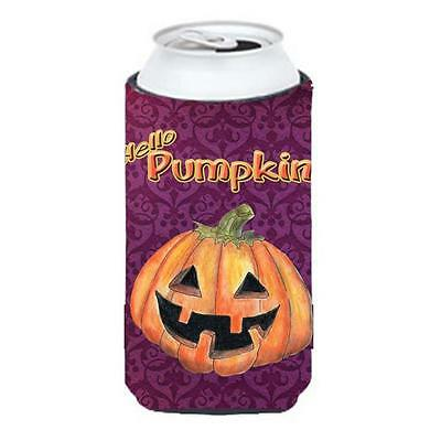 Hello Pumpkin Halloween Tall Boy bottle sleeve Hugger 22 To 24 oz.