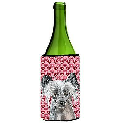 Chinese Crested Valentines Love Wine bottle sleeve Hugger 24 oz.