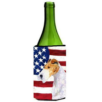 Carolines Treasures Usa American Flag With Fox Terrier Wine bottle sleeve Hugger