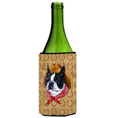 Boston Terrier Dog Country Lucky Horseshoe Wine bottle sleeve Hugger 24 oz.