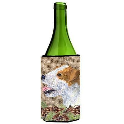 Jack Russell Terrier on Faux Burlap with Pine Cones Wine bottle sleeve Hugger...