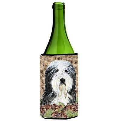 Bearded Collie on Faux Burlap with Pine Cones Wine bottle sleeve Hugger 24 oz.