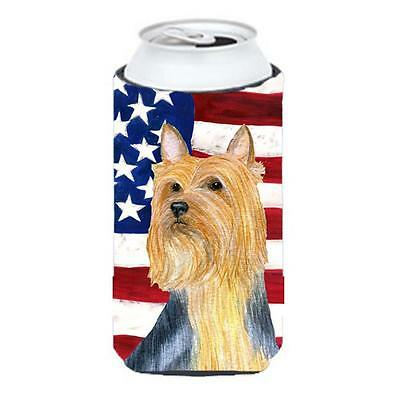 USA American Flag With Silky Terrier Tall Boy bottle sleeve Hugger 22 To 24 oz.