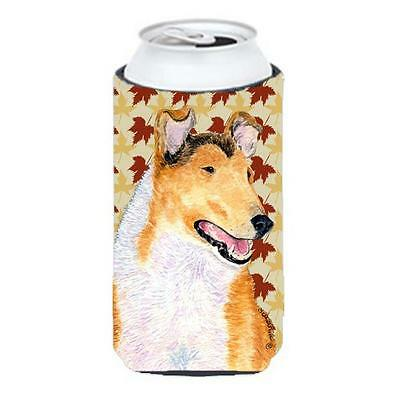 Collie Smooth Fall Leaves Portrait Tall Boy bottle sleeve Hugger
