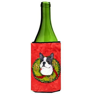 Carolines Treasures Boston Terrier Cristmas Wreath Wine bottle sleeve Hugger