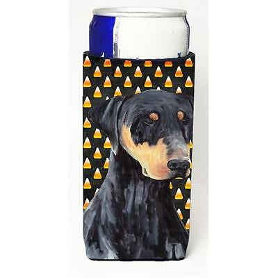 Doberman Natural Ears Candy Corn Halloween Portrait Michelob Ultra s for slim...