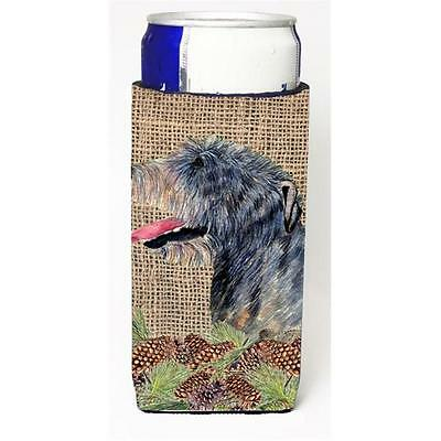 Irish Wolfhound on Faux Burlap with Pine Cones Michelob Ultra bottle sleeves ...