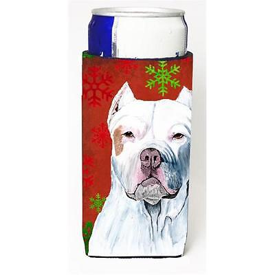 Pit Bull Red and Green Snowflakes Holiday Christmas Michelob Ultra s for slim...