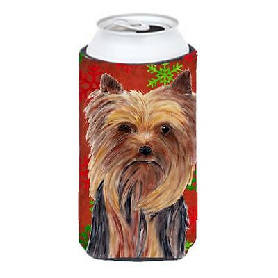Yorkie Red And Green Snowflakes Holiday Christmas Tall Boy bottle sleeve Hugger