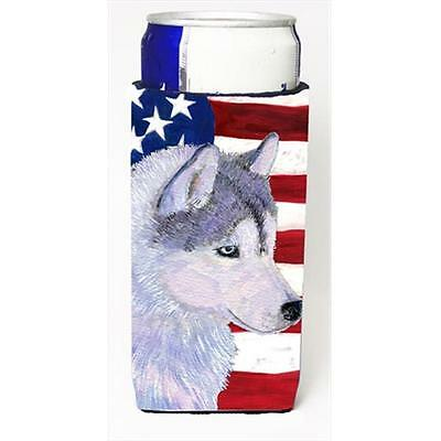 Usa American Flag With Siberian Husky Michelob Ultra bottle sleeves For Slim ...