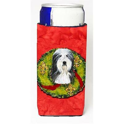 Bearded Collie Christmas Wreath Michelob Ultra bottle sleeves For Slim Cans 1...