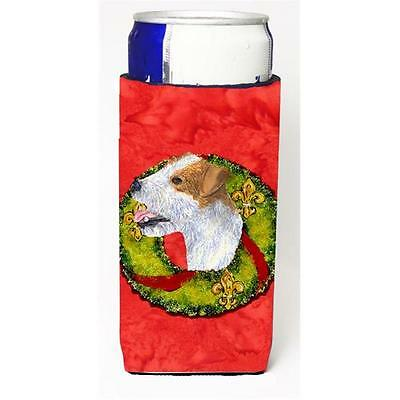 Jack Russell Terrier Cristmas Wreath Michelob Ultra bottle sleeves For Slim Cans