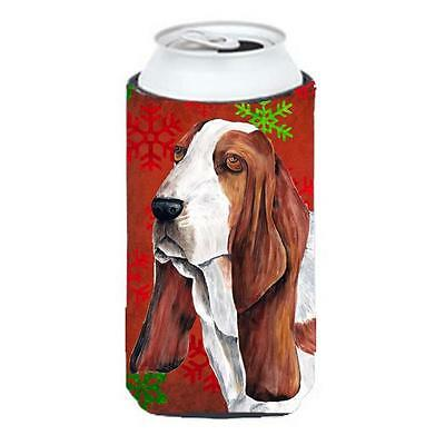 Basset Hound Red and Green Snowflakes Holiday Christmas Tall Boy Hugger