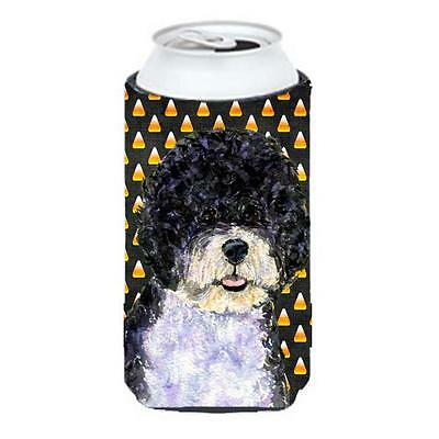 Portuguese Water Dog Candy Corn Halloween Portrait Tall Boy bottle sleeve Hug...