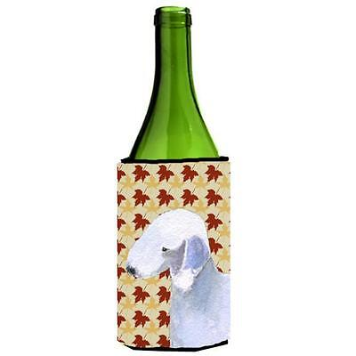 Bedlington Terrier Fall Leaves Portrait Wine bottle sleeve Hugger