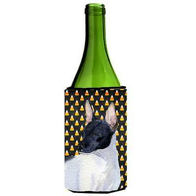 Rat Terrier Candy Corn Halloween Portrait Wine bottle sleeve Hugger 24 Oz.