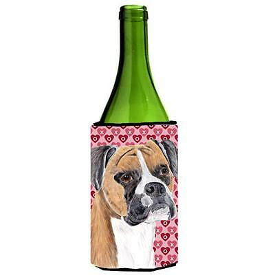 Boxer Hearts Love and Valentines Day Portrait Wine bottle sleeve Hugger