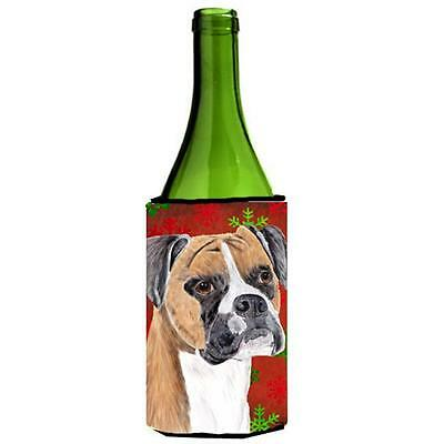 Boxer Red and Green Snowflakes Holiday Christmas Wine Bottle Hugger