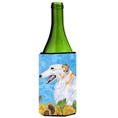 Carolines Treasures Borzoi In Summer Flowers Wine bottle sleeve Hugger 24 Oz.