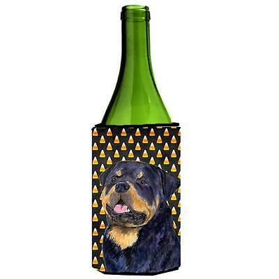 Carolines Treasures Rottweiler Candy Corn Halloween Portrait Wine Bottle Hugger
