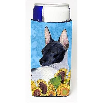 Rat Terrier In Summer Flowers Michelob Ultra bottle sleeves For Slim Cans 12 oz.