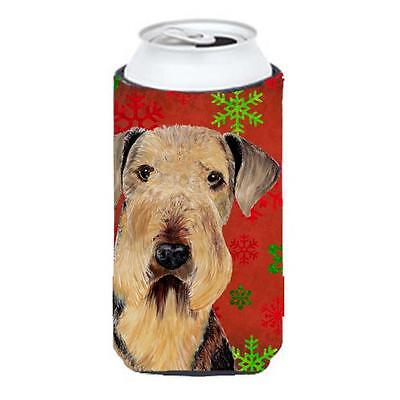 Airedale Red and Green Snowflakes Holiday Christmas Tall Boy Hugger