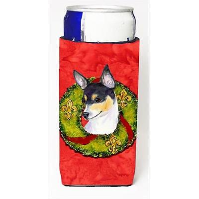 Fox Terrier Cristmas Wreath Michelob Ultra bottle sleeves For Slim Cans